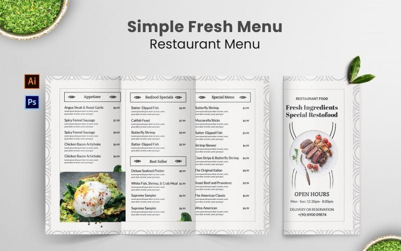 Einfaches Menü Restaurant Menü