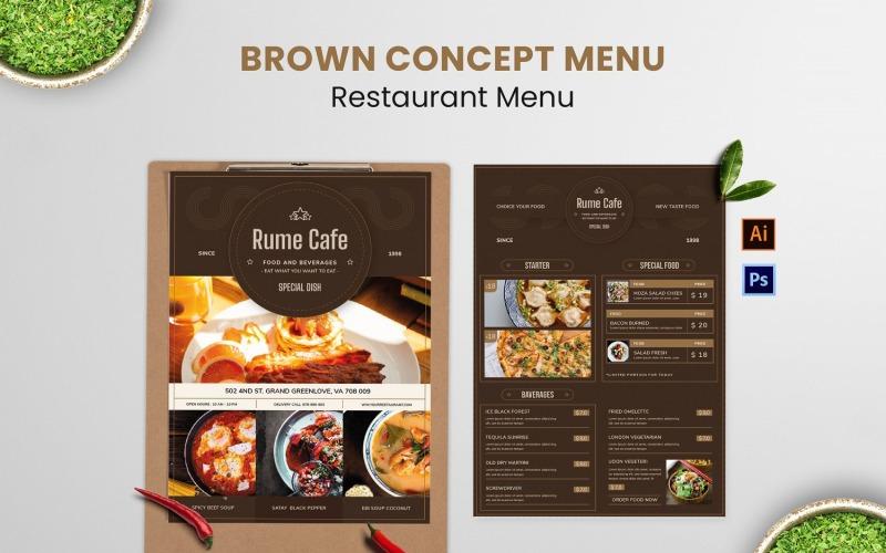 Elegantes braunes Konzept-Nahrungsmittelmenü