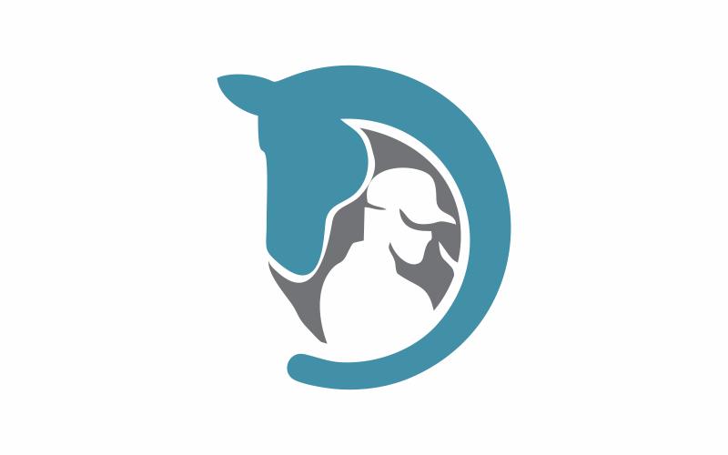 D Brief Pferd Human Logo Vorlage