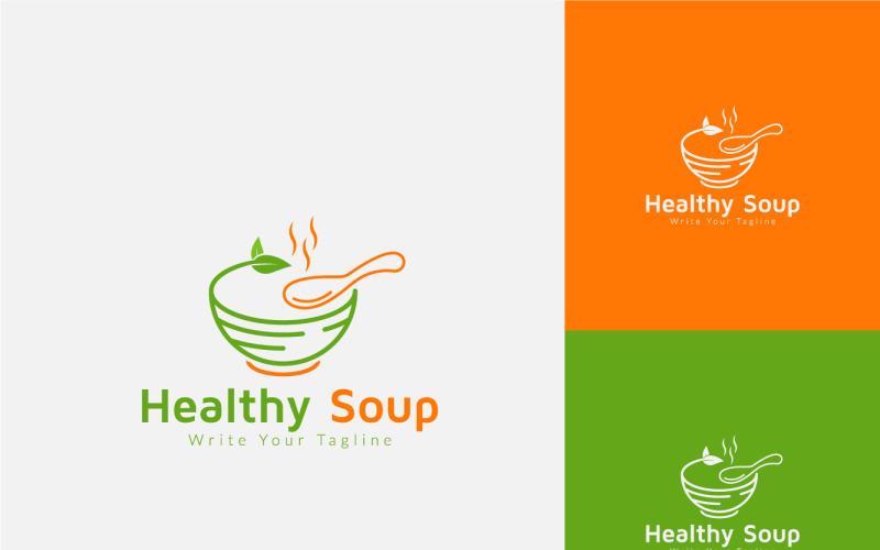 Gesunde heiße Suppe Logo Design-Vorlage