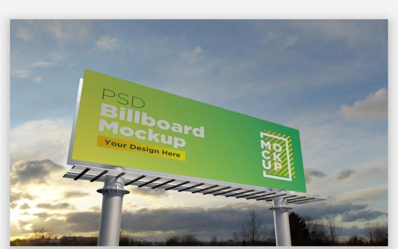 Straßenrand Billboard Mockup Vorderansicht mit zwei Polen