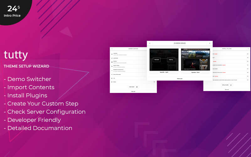 Tutty | Theme Setup Wizard WordPress Plugin