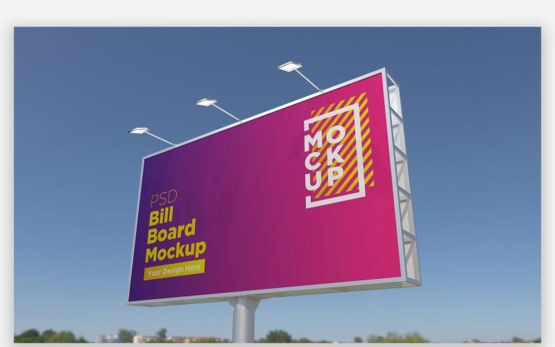 Hooding Billboard Mockup Seitenansicht mit einpoligem
