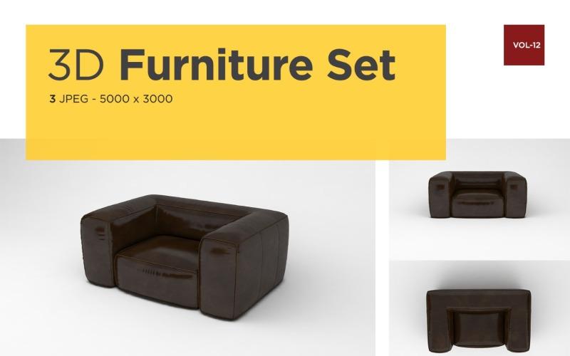 Ledersofa Vorderansicht Möbel 3d Foto Vol-12 Produktmodell