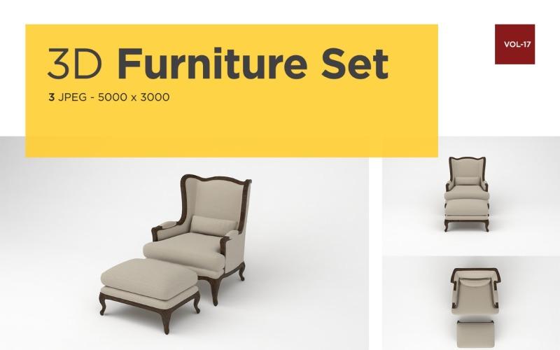 Luxus Sessel Vorderansicht Möbel 3d Foto Vol-17 Produktmodell