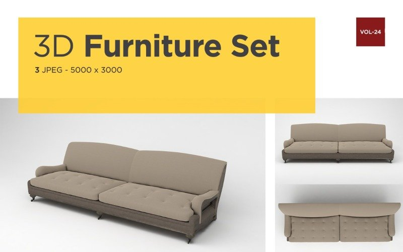 Luxus Sofa Vorderansicht Möbel 3d Foto Vol-24 Produktmodell