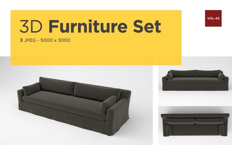 Luxus Sofa Vorderansicht Möbel 3d Foto Vol-43 Produktmodell