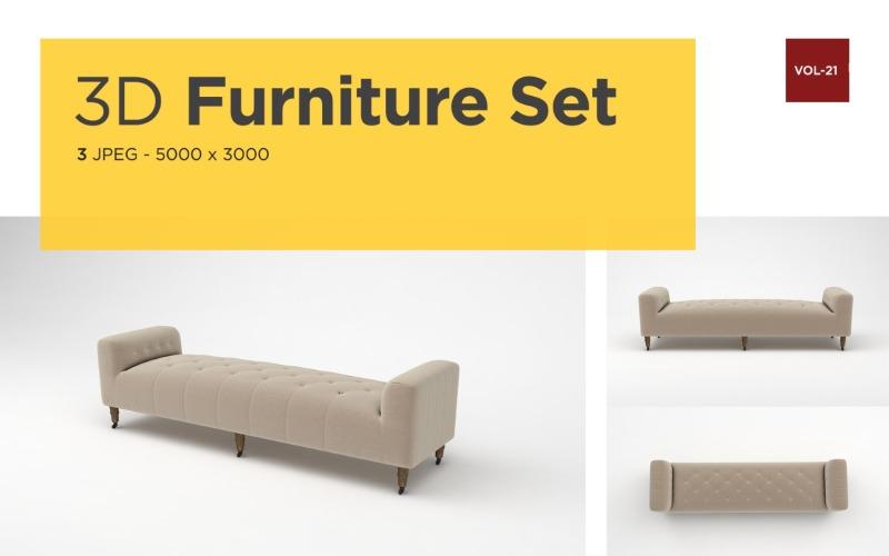 Moderne Daybed Vorderansicht Möbel 3d Foto Vol-21 Produktmodell