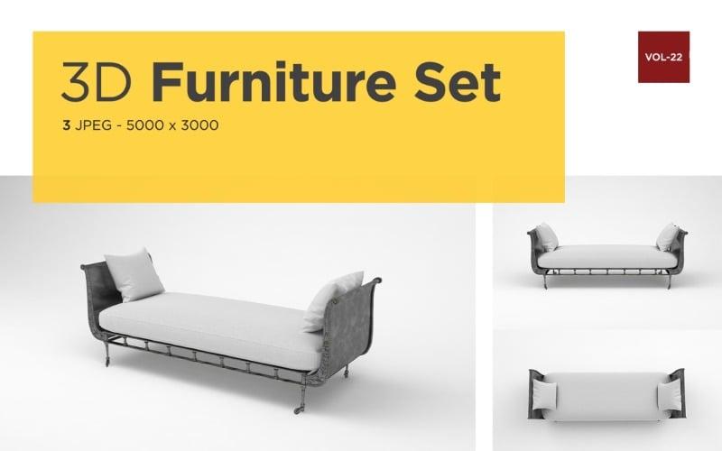 Moderne Daybed Vorderansicht Möbel 3d Foto Vol-22 Produktmodell