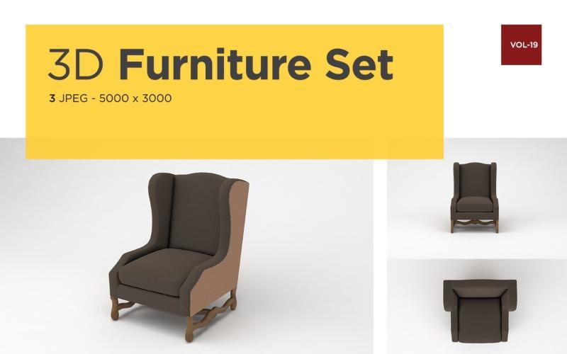 Modernes Sofa Vorderansicht Möbel 3d Foto Vol-19 Produktmodell