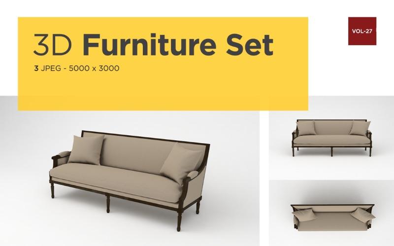 Modernes Sofa Vorderansicht Möbel 3d Foto Vol-27 Produktmodell