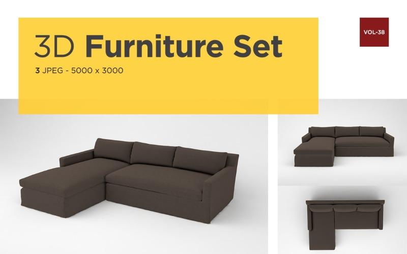 Modernes Sofa Vorderansicht Möbel 3d Foto Vol-38 Produktmodell