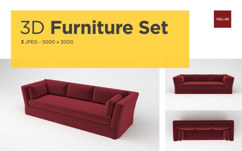 Modernes Sofa Vorderansicht Möbel 3d Foto Vol-45 Produktmodell