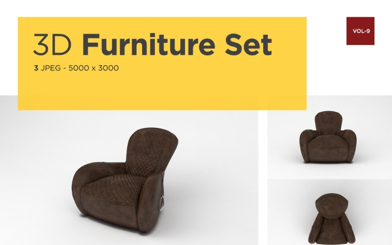 Modernes Sofa Vorderansicht Möbel 3d Foto Vol-9 Produktmodell