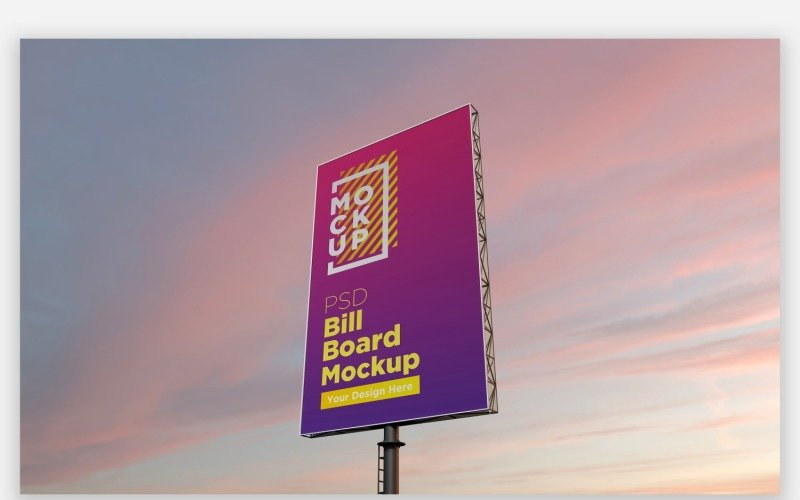 Roadside Sky Hooding Billboard Mockup Seitenansicht mit Single