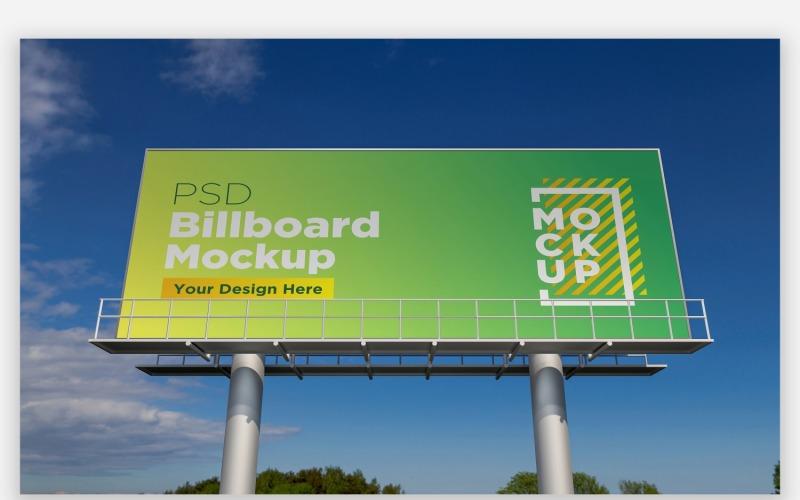 Roadside Sky Hooding Billboard Mockup Vorderansicht mit zwei Polen