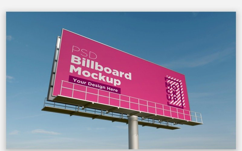 Sky Hooding Billboard Mockup Seitenansicht