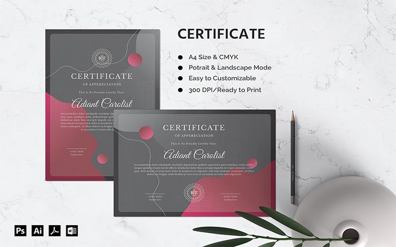Adrian Carolist - Zertifikatvorlage