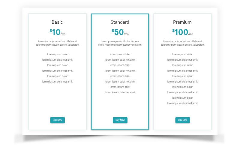 Elemente der Flat-Pricing-Vergleichstabelle für die Benutzeroberfläche