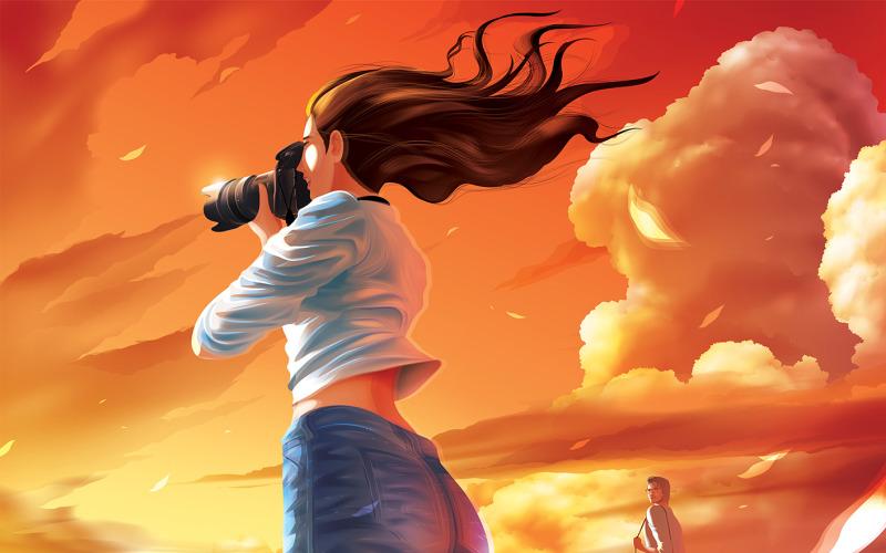 Freie Dame Fotografin macht Foto Schöne Sonnenuntergang Weiter Mann stiehlt ihre Blick Vektoren