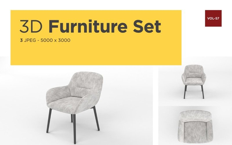 Luxus Sessel Vorderansicht Möbel 3d Foto Vol-57 Produktmodell