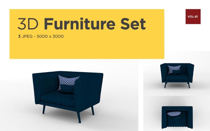 Luxus Sessel Vorderansicht Möbel 3d Foto Vol-81 Produktmodell
