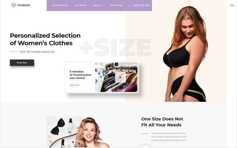 Oversize - Fashion One Page Kostenlos Clean Bootstrap HTML Landing Page Template