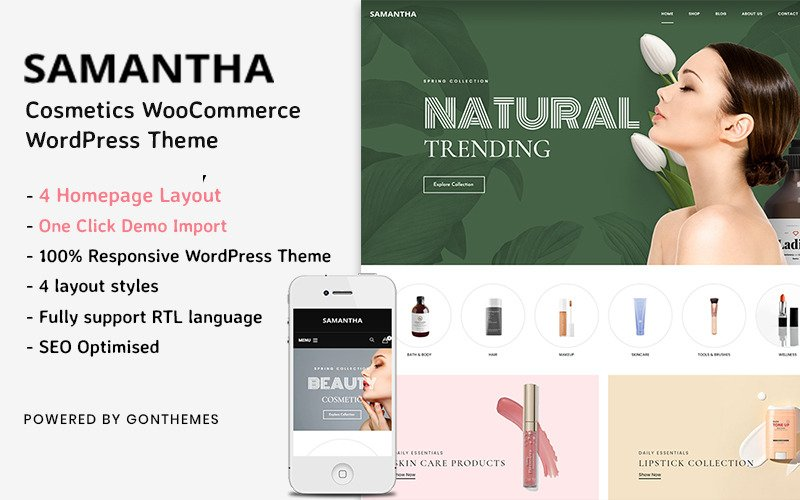 Samantha - Thème WordPress pour cosmétiques WooCommerce