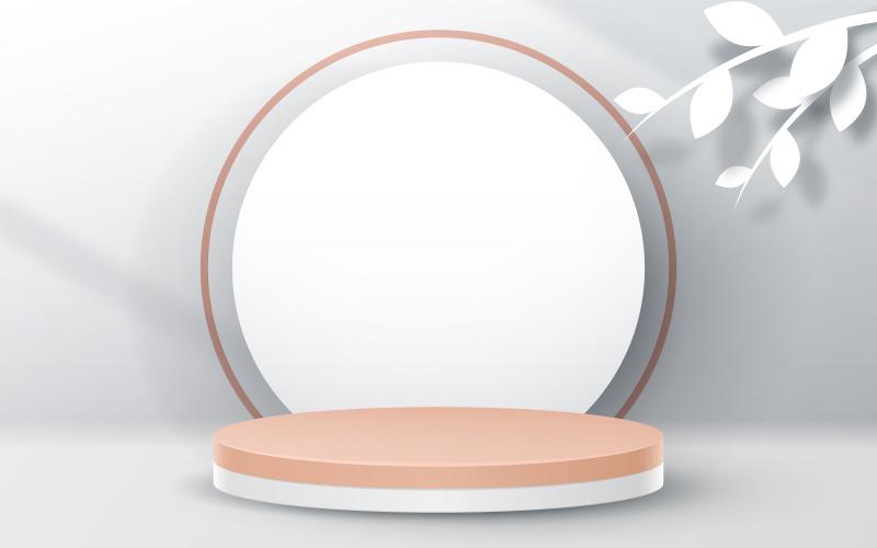 Stehen Sie mit weißem Kreis - Szenengenerator, Produktmodell