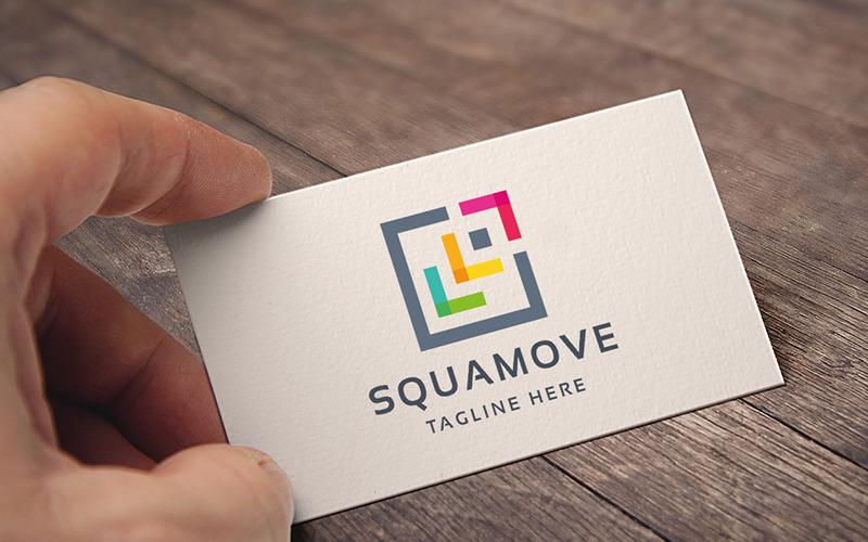 Abstrakte professionelle quadratische Verschieben-Logo-Vorlage