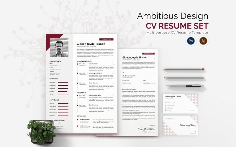 Ambitionierte Design-Lebenslauf-Druckvorlagen für Lebensläufe