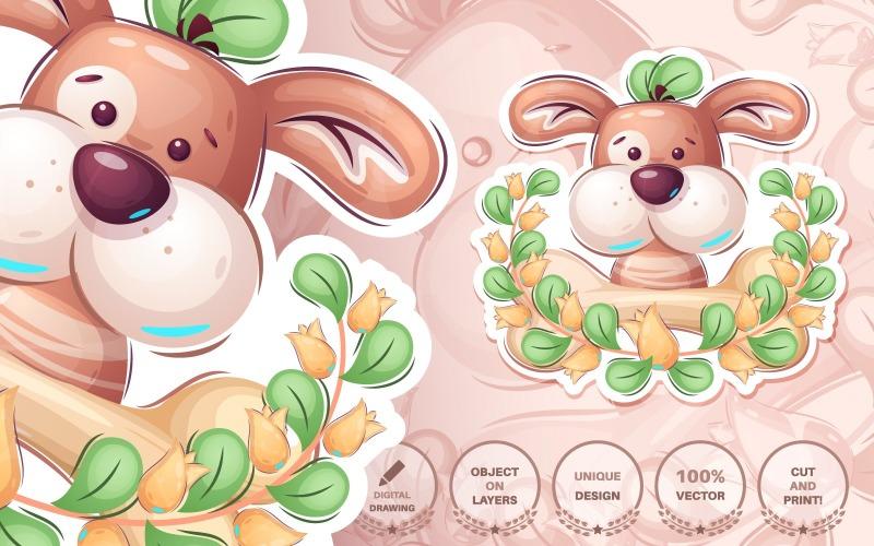 Cartoon Character Adorable Puppy - Nahtloses Muster, Grafik Illustration