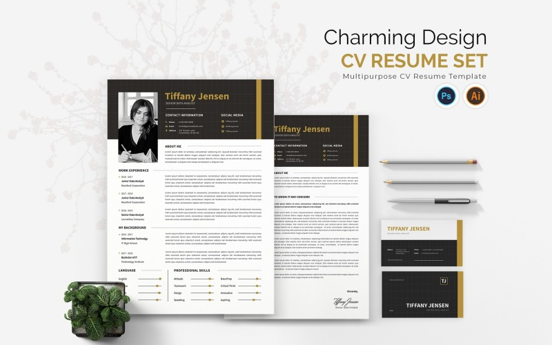 Charming Design CV Druckbare Lebenslaufvorlagen