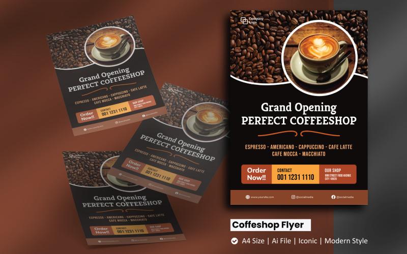 Coffee Shop Eröffnung Flyer Corporate Identity Vorlage