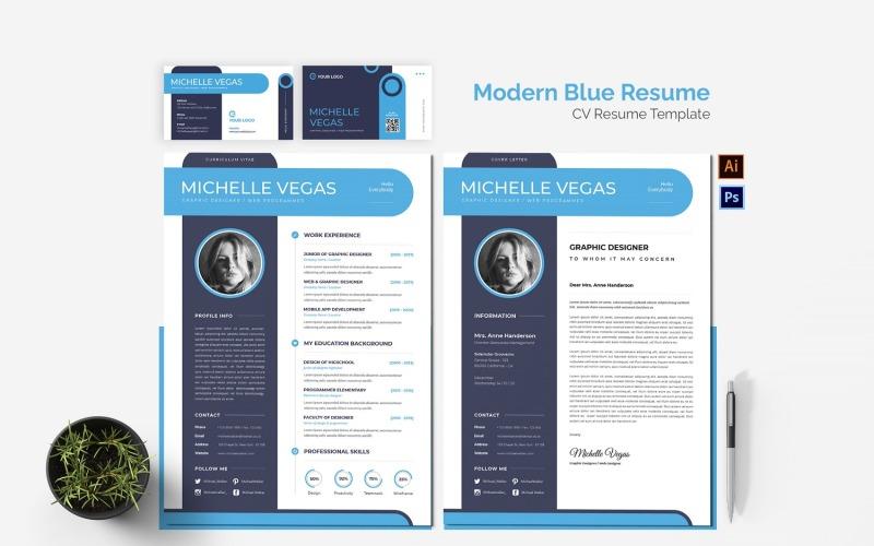 Druckbare Lebenslaufvorlagen für moderne blaue Lebensläufe