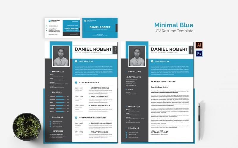 Druckbare Lebenslaufvorlagen mit minimalem blauen Lebenslauf