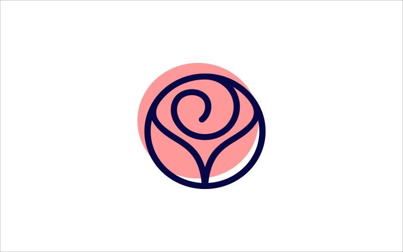 Einfache und einzigartige rosa Rosenblumen-Logo-Schablone