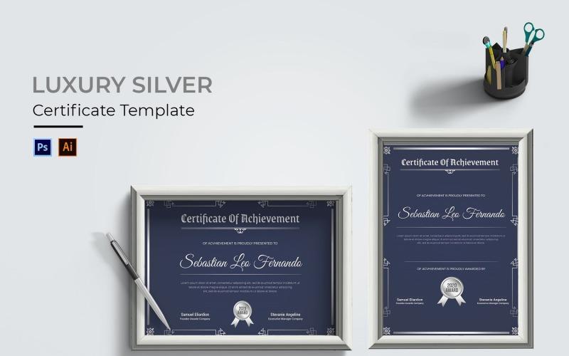 Luxus Silber Zertifikat Vorlage