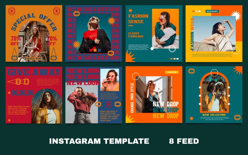 8 Mode Instagram Vorlage für Social Media