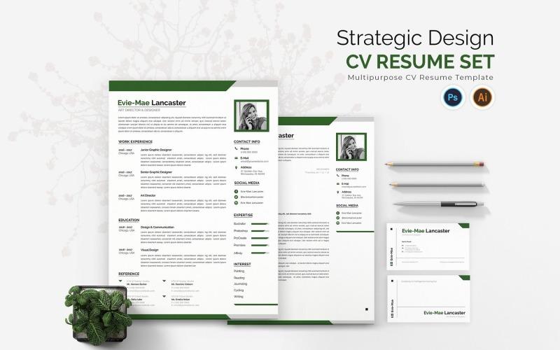 Modelos de currículo para impressão de CV de design estratégico