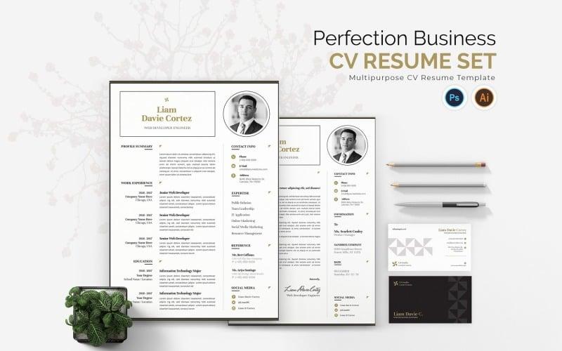 Perfection Business CV Druckbare Vorlagen für Lebensläufe