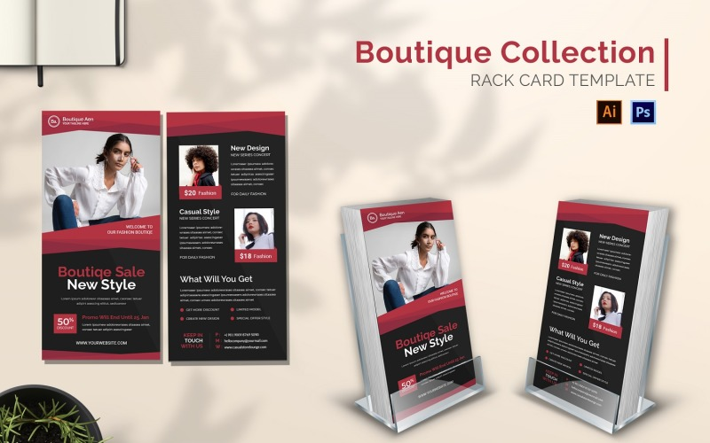 Rack-Kartenbroschüre der Boutique-Sammlung