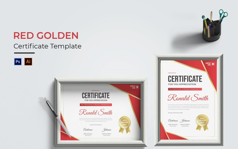 Rote goldene Zertifikatsvorlage