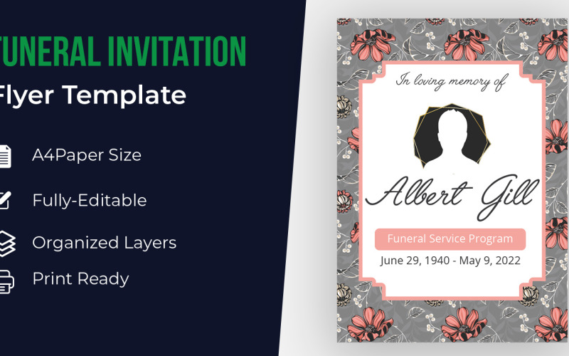 Begräbnis-Einladungs-Karten-Schablonen-Entwurf