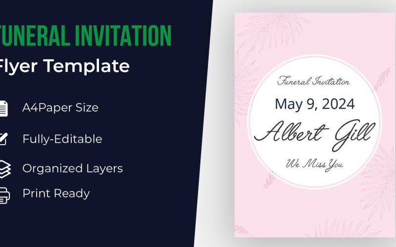 Begräbniseinladungs-Flyer-Entwurfs-Schablone