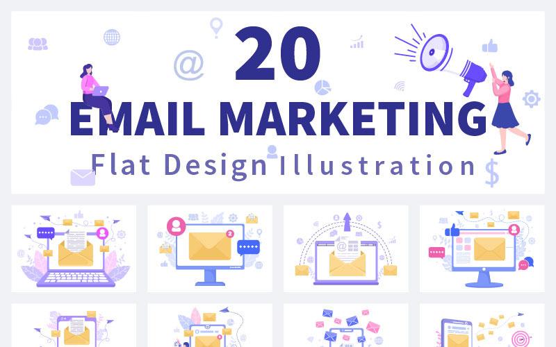 20 E-Mail-Marketing-Vektorillustration