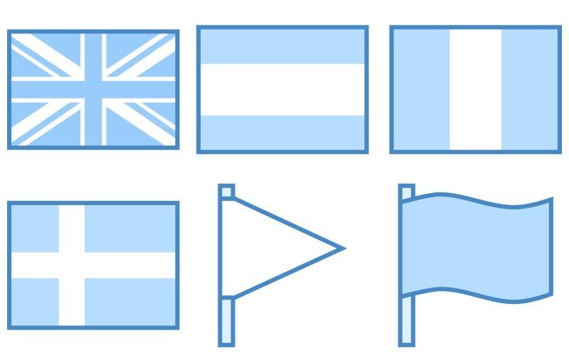 Flags Icon Pack im blauen UI-Stil