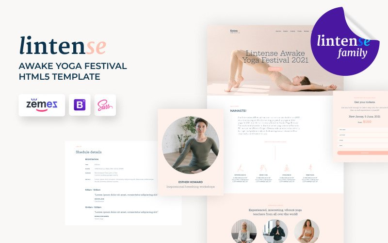 Lintense Yoga - Modèle de page de destination d'événement