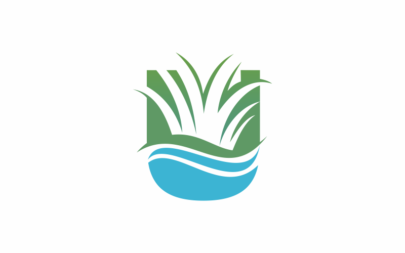 Modelo de logotipo da letra U Grass