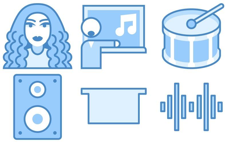 Musik-Icon-Pack im blauen UI-Stil